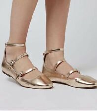 Topshop Womens Shoes Metallic Gold Strappy Flats SIZE UK4 EUR37 US6.5
