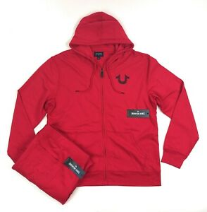 True Religion Shoestring Horseshoe Mens 3XL Red 2 Piece Sweatsuit Hoodie Pants