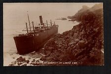 "Wreck of the City of Cardiff at Land's End - RP postcard by ""Bragg"" series"