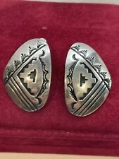 Rare Large NAVAJO Jeanne & Felix STERLING  Clip On Earri Signed JF(conjoined)