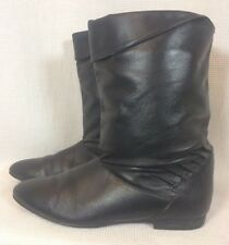 True Vintage 1980s Women's Retro Black Granny Ankle Boots Shoes Size 6 M Grunge