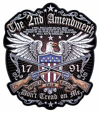 Large Patriotic The 2nd Amendment Don't Tread on Me American Eagle Biker Patch