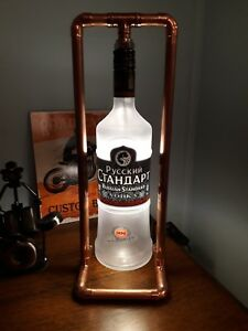 Russian vodka Steampunk Copper, Bottle Lamp, Vintage Retro LED 1Ltr