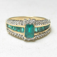 Estate 14K Yellow Gold 0.40 Ct Synthetic Green Chatham Emerald And Diamond Ring