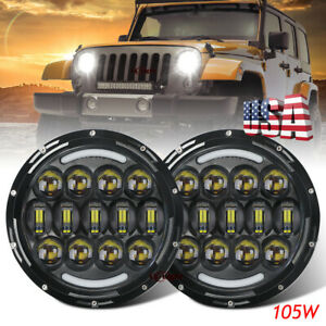 "For Hummer H1 H2 H3 H3T 7""Inch LED Round Headlights Halo HeadLamp DRL Hi/Lo 2PCS"