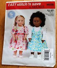 "McCalls Pattern #9329 Doll Clothing 18"" Dolls - Jumper, Top, Dress,Leggings"