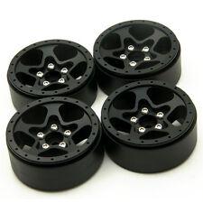"1.9"" Metal Beadlock Wheel Rims Set fr 1/10 RC SCX10 Crawler Star Style 32# Black"