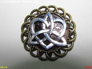steampunk badge brooch pin silver trinity knot heart charm wiccan pagan celtic
