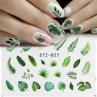 Nail Art Decals Tips Stickers Leaf Flowers Water Transfer Beauty Manicure DIY