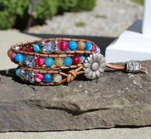 Women's Multi Colored Agate with Czech Beads Beaded 3x Leather Wrap Bracelet USA