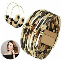 Multilayer Leather Magnet Wrap Cuff Bracelet Earring Ladies Jewelry Gifts Sets
