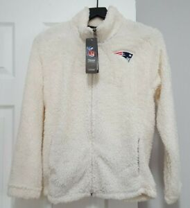 NWT New England Patriots NFL Juniors Fleece, Jacket, White, Zip on, S, M, L, $60