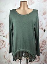 Feinstrick Long Pulli Pullover Shirt Spitze Chiffon Italy Grün M L XL