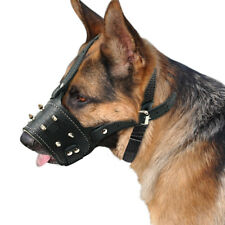Durable Leather Padded Dog Muzzle Spiked Studded Adjustable Dog Mouth Cover