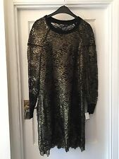New DKNY Donna Karen Black & Gold Lace Party Dress & Black Slip,M
