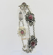 ♦♦Armband in aus 835er Silber mit Granat Silberarmband Edelstein Tracht Armreif♦