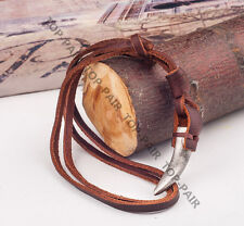 Punk Individuality LONG Surfer Beach Vintage Leather Choker Necklace Metal Tooth