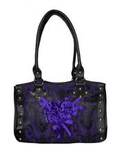 Dark Star Black and Purple Gothic Cross Brocade and Roses Hand Bag.
