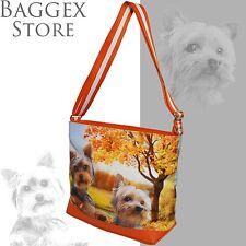 Yorkshire Terrier Original Portrait Drawing Printed Canvas Large Shoulder Bag