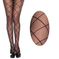 Sheer Fishnet Cutout Thin Criss Cross Stripe Black Stocking Tight Full Pantyhose