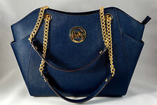 NWT Michael Kors Jet Set Travel Saffiano Leather Chain Shoulder Tote Navy $378