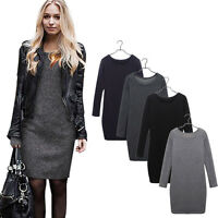 Womens Ladies Winter Mini Dress Thick Warm Slim Plain Long Sleeve Long Tops