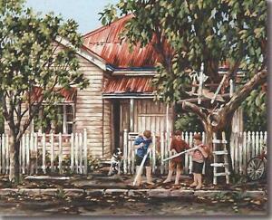 MASTER BUILDERS 50 x 40 cm Gordon Hanley Aust NEEDLEPOINT TAPESTRY canvas!.