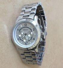Geneva Silver Watch Oversize Round Silver Dial Linked Bracelet Designer Style!