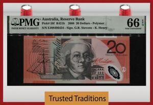 TT PK 59f 2008 AUSTRALIA RESERVE BANK 20 DOLLARS PMG 66 EPQ GEM UNCIRCULATED!