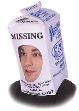 ADULT RETRO MISSING PERSON MILK CARTON MASK HAT COSTUME ACCESSORY GC7068