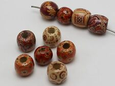 50 Assorted Patterned Big Barrel Wood Beads 16mm with Big Hole~Wooden Beads