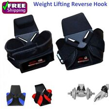 Weight Lifting Hooks Reverse Grips Gym Training Wrist Straps Gloves Support Bar