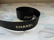 CHANEL PRINT RIBBON BLACK AND GOLD 1 METRE 22MM WIDE