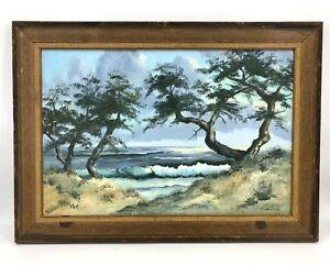Vtg 1970's Cypress Tree California Coast Beach Seascape Oil Painting Signed