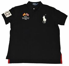 Polo Ralph Lauren Men Custom Fit Big Pony Spain Track Field Rugby Shirt Black XL