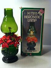 VINTAGE CHRISTMAS KEROSENE LAMP Oil Lamp FOREST GREEN GLASS  HOLIDAY Box