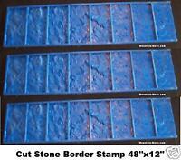 "3 Granite Tile Brick Border Decorative Concrete Cement Stamps mats 12""x48"""
