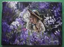 Dipinto originale olio su tela ritratto da Gregory Tillett: la ragazza lavanda