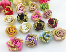 DIY 10-100 PCS gold Glitter Satin Ribbon Rose Flower Wedding Appliques,Craft