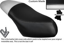 WHITE  & BLACK CUSTOM FITS PIAGGIO DIESIS 100 DUAL LEATHER SEAT COVER ONLY