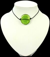 GREEN murano FOIL GLASS BEAD pendant NECKLACE leather