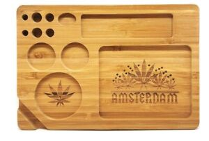 Bamboo Rolling Tray Amsterdam Multi Leaf Design 13 Compartment 230 x 160 x 20mm