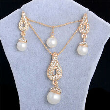 Silver&Gold Plated Crystal Pearl Pendant Necklace+Earrings Women Jewelry Set New