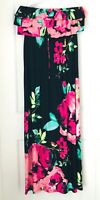 Style & Co Womens PL Long Floral Black Stretch Summer Spring Dress
