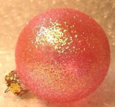"""VINTAGE CHRISTMAS ORNAMENT GERMANY COVERED IN PINK GLITTER 3"""""""