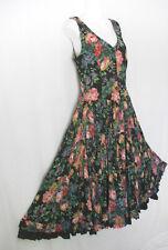 Starina Vintage Cotton Floral Ruffle Hem Lagenlook Prairie Dress Women's Small