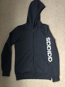 Girl's adidas Junior Essentials Linear Full Zip Hoodie Jacket in Black Age 13-14