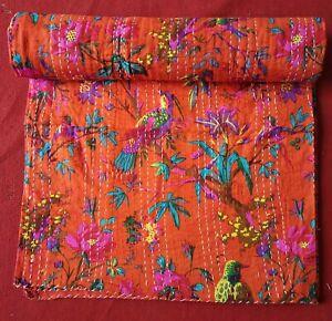 Orange Bird Print Queen/Twin Cotton Kantha Quilt Throw Blanket Bedspread