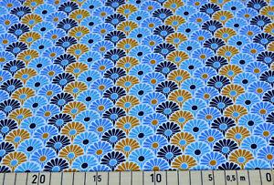 Katharina, Blumen, Baumwolljersey, Jersey, blau, senfgelb, weiß Stoff (J590)