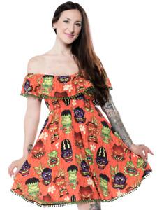 Sourpuss Fiesta Monster Tiki Gothic Punk Horror Spooky Halloween Dress SPDR513